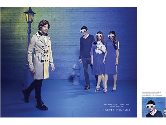 Harvey Nichols Print Ad -  Googly eyes street