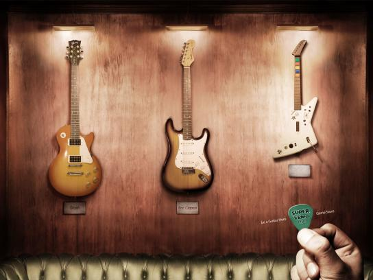 Super Video LIDO Game Store Print Ad -  Be a guitar hero