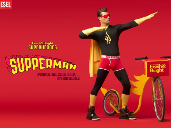 Diesel Print Ad -  Fresh & Bright Superheroes, Supperman