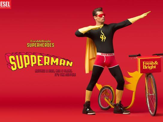 Diesel Print Ad -  Fresh & Bright Superheroes, Supperman