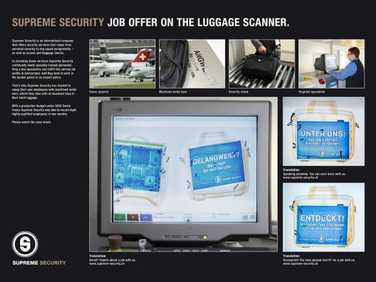 Supreme Security Ambient Ad -  Job offer in luggage scanner