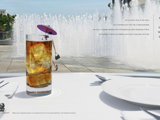 The Ritz-Carlton Print Ad -  Umbrella Drink