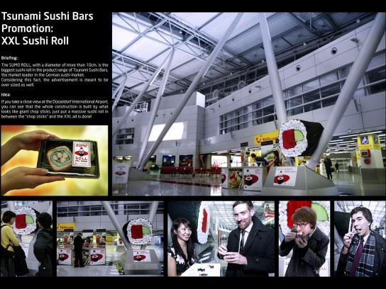 Tsunami Sushi Bars Ambient Ad -  XXL Sushi Roll