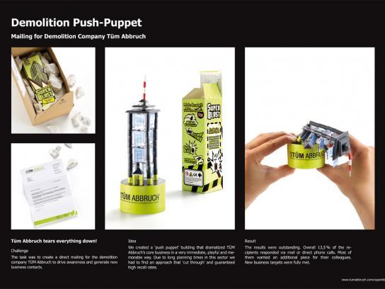 Tüm Abbruch Direct Ad -  Demolition Push Puppet