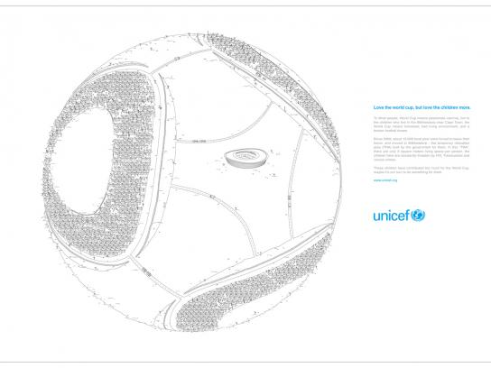 Unicef Print Ad -  Love the world cup, but love the children more.