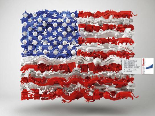 Mercado Magazine Print Ad -  USA-China Flag
