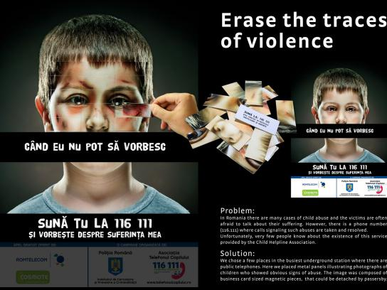 Romanian Traffic Police Outdoor Ad -  Erase the traces of violence