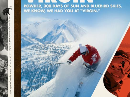 Mammoth Mountain Ski Resort Print Ad -  Virgin powder
