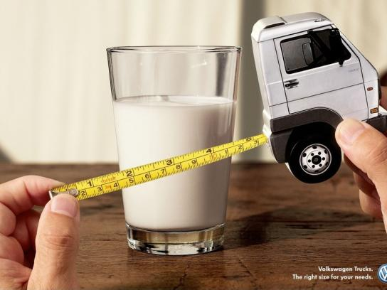 Volkswagen Print Ad -  Right size for your needs, Glass of Milk