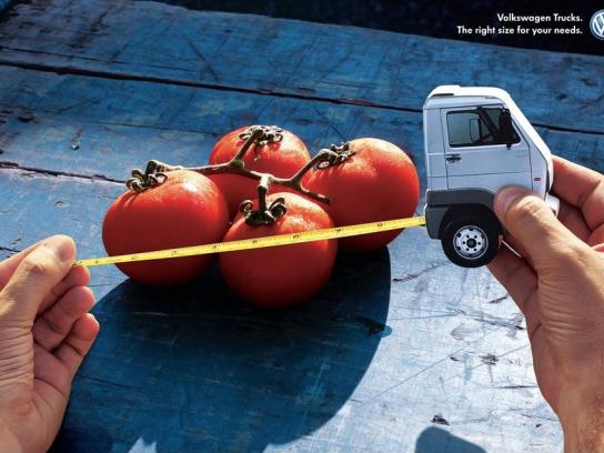 Volkswagen Print Ad -  Right size for your needs, Tomatoes