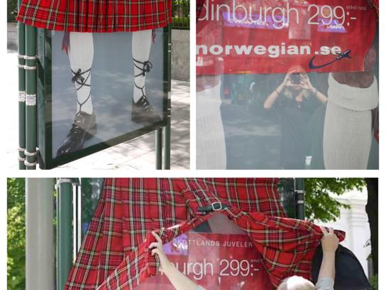 Norwegian Air Shuttle Ambient Ad -  New Destinations, The Kilt