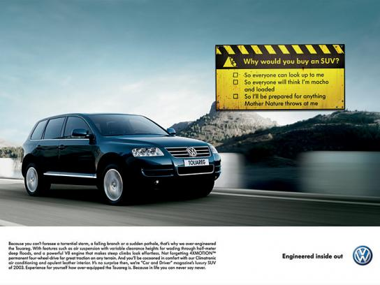 Volkswagen Print Ad -  Touareg signs
