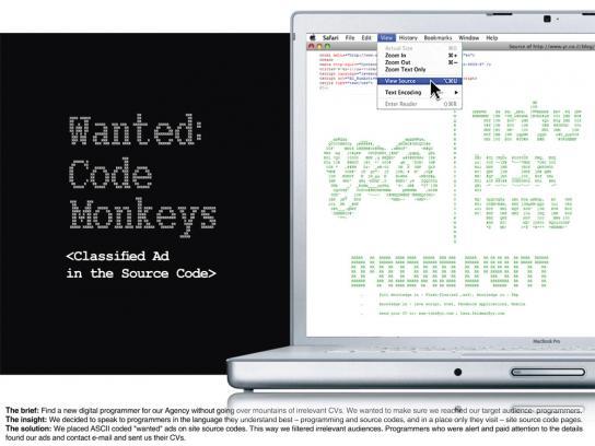 Y&R Digital Ad -  Source code monkeys