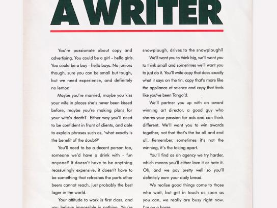 Propaganda Print Ad -  We need a writer