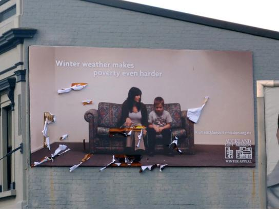 Auckland City Mission Print Ad -  Winter weather billboards