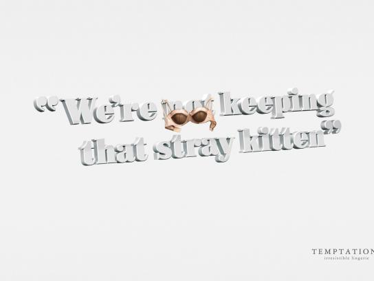 Temptations Print Ad -  Stray Kitten