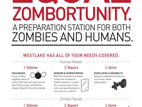 Westlake Hardware Outdoor Ad -  Zombie Preparedness, For Zombies