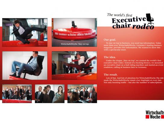 Wirtschaft Woche Ambient Ad -  The world's first executive Chair Rodeo