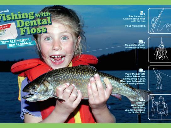 Colgate Print Ad -  Fishing with dental floss, 1