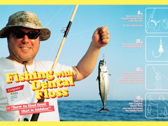Colgate Print Ad -  Fishing with dental floss, 2