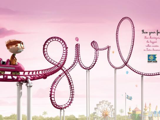 Hopi Hari Theme Park Print Ad -  Roller Coaster, Girl