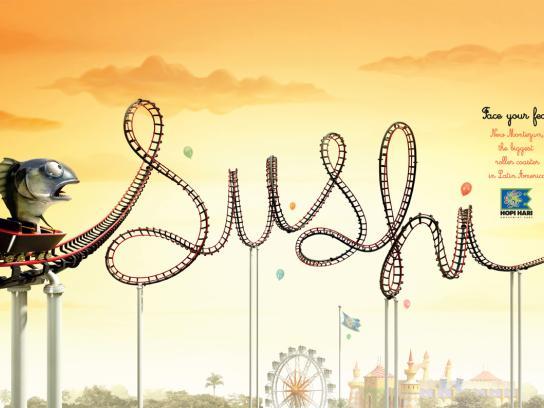 Hopi Hari Theme Park Print Ad -  Roller Coaster, Sushi