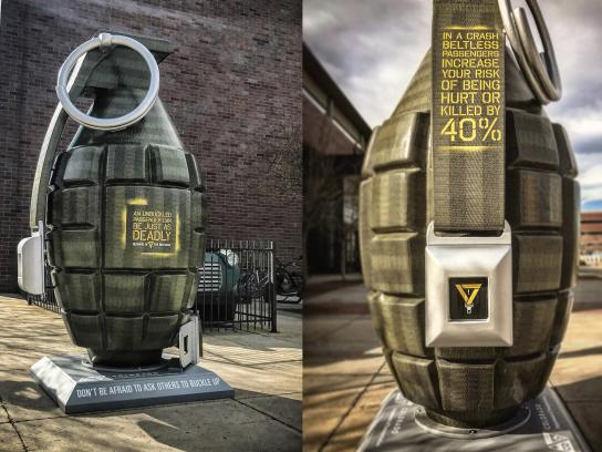 Colorado's Department of Transportation Outdoor Ad - Unbuckled Grenade
