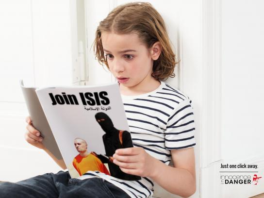 Innocence In Danger Print Ad - Just one click away, ISIS