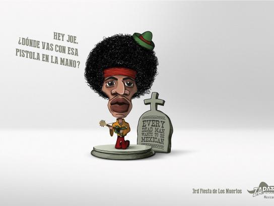 Zapata Bar Print Ad -  Fiesta de Los Muertos, Jimmy Hendrix
