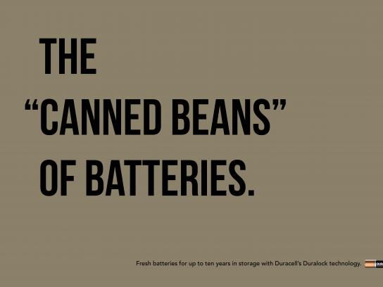 "Duracell Print Ad - The ""Canned Beans"" of Batteries"