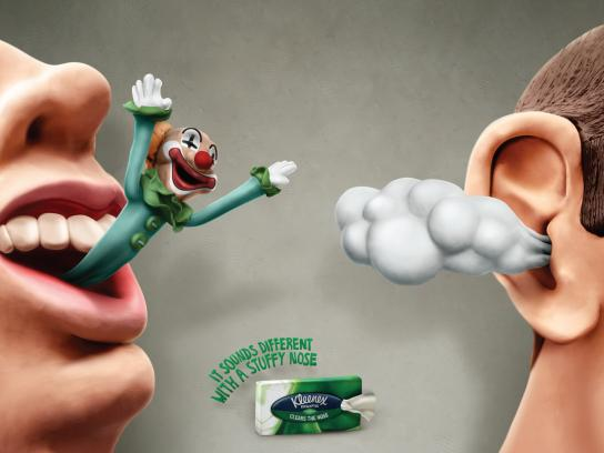 Kleenex Print Ad -  Clown-Cloud