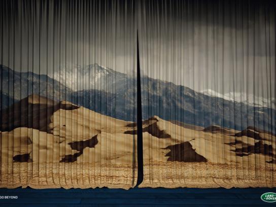 Land Rover Print Ad -  Curtain, Desert