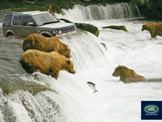 Land Rover Print Ad -  Salmon fishing
