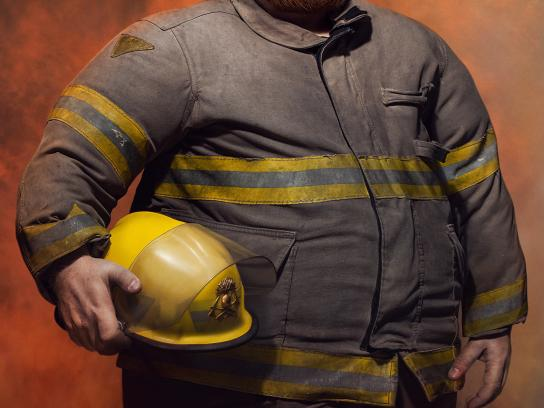 League Against Obesity Print Ad -  Fireman