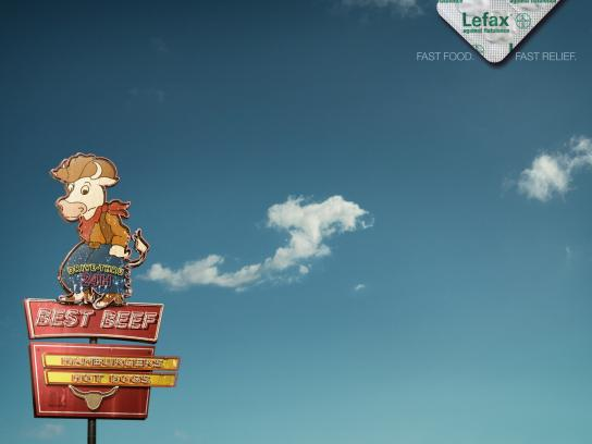 Enzym Lefax Print Ad -  Fast food flatulence, Beef