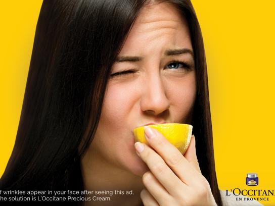 L'Occitane Print Ad - Face Wrinkle - Lemon