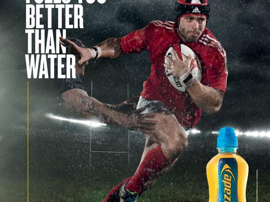 Lucozade Print Ad -  Hydrates and fuels you better than water, 2