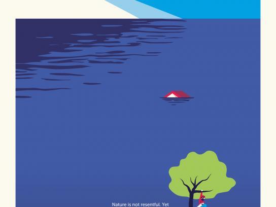 Friends of the Earth Print Ad - Lumberjack flood