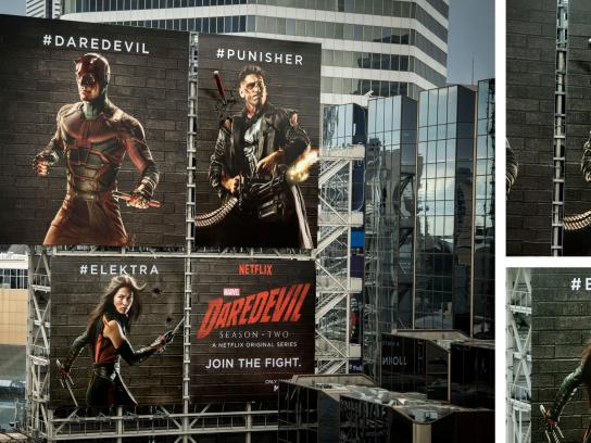Netflix Outdoor Ad -  Daredevil Fighting Billboards