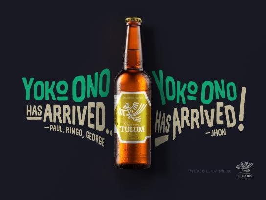 Cerveceria Tulum Print Ad - Yoko Ono