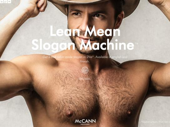 McCann Digital Ad -  Lean Mean Slogan Machine