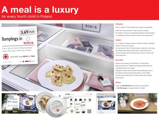 Red Cross Ambient Ad -  A meal is a luxury