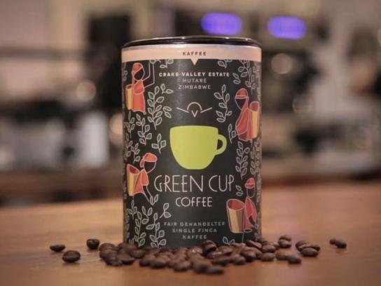 Green Cup Coffee Ambient Ad -  100% traceable wake-up calls