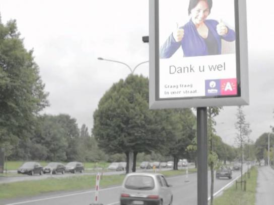 City of Antwerp Ambient Ad -  Selfie Speeding Sign