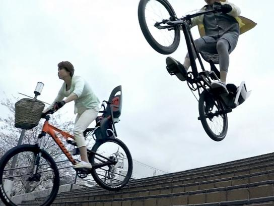 SoftBank Digital Ad -  Extreme Bicycle for Mom