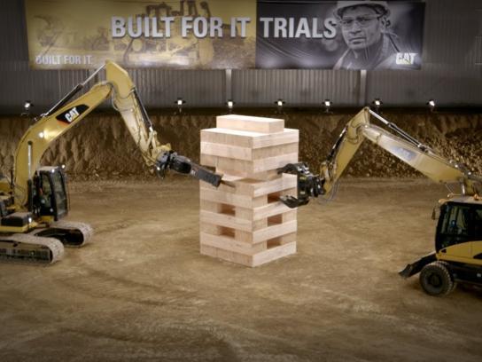 Caterpillar Film Ad -  Largest JENGA Game Played with Cat Excavators