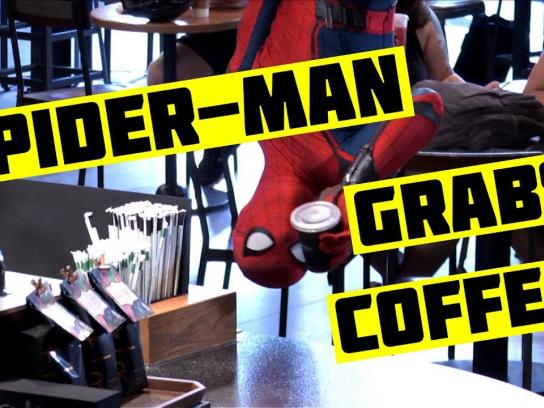 Spider-Man Experiential Ad - Spider-Man Grabs Coffee