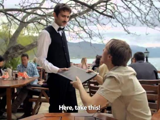 Government of Macedonia Film Ad -  Macedonian lakeside waiter, 2