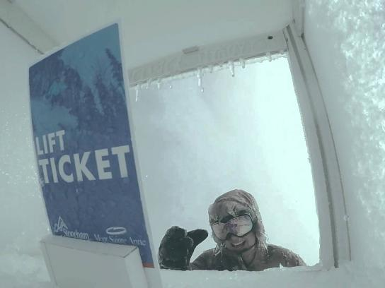 Mont-Sainte-Anne & Stoneham Ambient Ad -  How far would you go for a lift ticket?