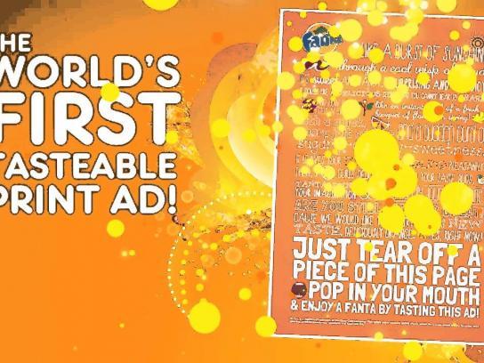 Fanta Print Ad -  World's First Tastable Print Ad